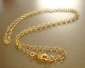 Finished Gold Chain Necklace, 18 inch Necklace, 14 Kt Gold Fill, Cable Chain Necklace