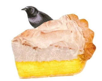 Cute Kitchen Artwork for Kitchen, Lemon Meringue Pie Art, Original Collage, Black Bird in Pie, Blackbird Art, Funny Bird Wall Art