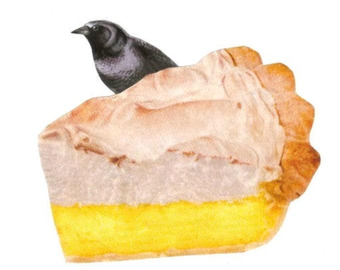 Black Bird Baked in a Pie, Lemon Meringue, Cute Kitchen Art