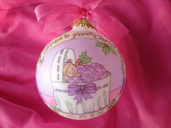 BABY'S FIRST CHRISTMAS Ornament, Baby Girl's Original Handpainted Personalized Ornament