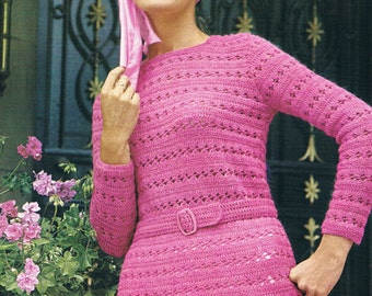 Mod Crochet jumper pattern 60s SALE