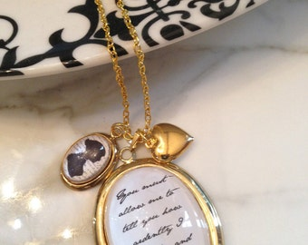 Jane Austen Necklace, Quote Necklace, Jane Austen Quote Necklace, Pride and Prejudice, You Must Allow Me Necklace, You Must Allow Me