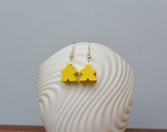 Yellow mini Carcassonne meeple earrings with nickel-free silverplated earwires