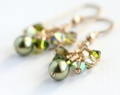 Elven Forest Cluster Earrings with Swarovski Crystals and Gold Fill
