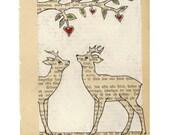 First meeting - Archival print -  Deer love illustration art
