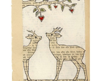 First meeting - Archival print -  Deer love illustration art