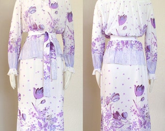 Vintage 70s Purple and White Floral Blouse and Skirt Set - Spring Flower Print Semi Sheer Women's Top and Below the Knee Skirt - Size Small