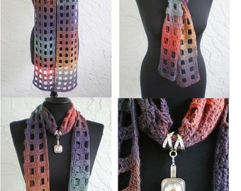 hand crochet scarf ~  squares~  urban color