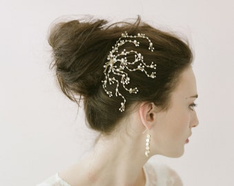 Bridal crystal hair comb - Dainty crystal spray comb - Style 402 - Made to Order