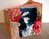 FREAK SHOW Art Box,  For Keepsakes, TAROT, recipes, Memoirs, Naughty bits, Vintage Pink  and Red Floral, Burlesque Decor, Vintage Decoupage