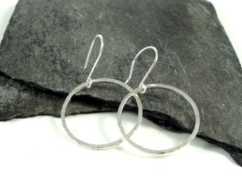 Hammered Round Hoop Sterling Silver Earrings