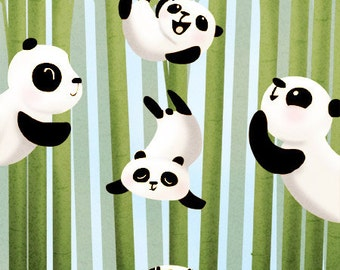 """Panda card, animal artwork, panda gift, blank greeting card - """"Pandamonium"""""""