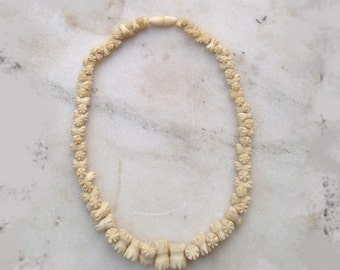 Vintage Carved Bone Bead Necklace, Choker, 1930s, 1940s, Graduated