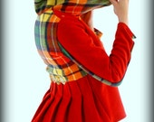 Red Floret Jacket small-medium Buchanan tartan, pleats, yo-yo's, asymmetrical collar, box cut, handmade, up-cycled, vintage