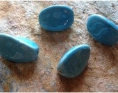 Chunky Blue Twisted Wave Bead Lot - Shiny Glossy Ceramic - Four (4) Beads - Pottery Bead Lot - Jean Skipper - Artist Alley