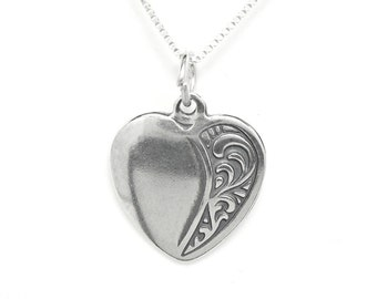 Sterling Silver Heart Love Pendant Charm Customize no. 1880