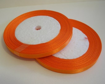 "Satin Ribbon 1/4"" Orange - 25 yard spool (R12) for Crafts DIY Wedding Ribbon Wands Streamers Party Decor"