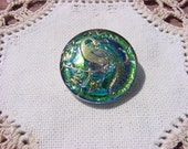 Rainbow Golden Bird of Paradise Czech Glass Button