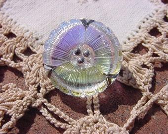 Aurora Borealis Pansy Czech Glass Button