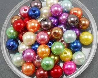 100 Acrylic Pearl Beads 8MM Mixed Color (H2698)