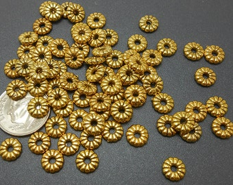50 Gold Metal Beads 7MM gold tone spacers (H1597)