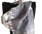 Hand Dyed Silk Scarf, Tie Dyed Grey Silk Scarf Hand Painted