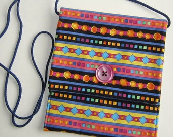 Sidepocket Purse, Crossbody Purse, Hip Bag, Shoulder Bag, Cell Phone Purse, geometric stripes