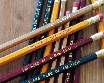 12 ANCHORMAN Engraved Pencil Pack, stay classy, funny gifts, gifts for dad, stocking, holiday gift, birthday gift, Ron Burgundy