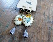 vintage flowers and Iolite - vintage tin earrings