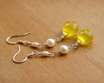 Lemon Drop Briolette Earrings with Ivory Pearls Wire Wrapped with Sterling Silver