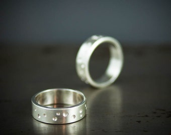 Alternative Wedding Band, His and Hers Wedding Ring, Brushed Silver Constellation Ring Set