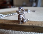 Smiling Seated Poodle European Made Silver Charm / Pendant