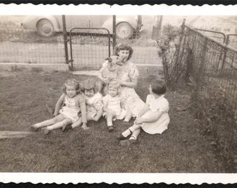 vintage photo Mom Beswick & Her Girls and the dog Sit on the lawn Snapshot