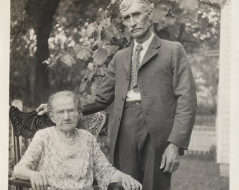 vintage photo 1929 Older Woman Granny and Man celebrate her 88th Birthday