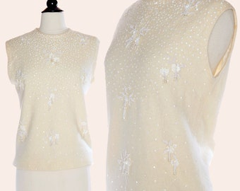 Vintage 60s Beaded Sweater / Cream Beaded Sweater Shell