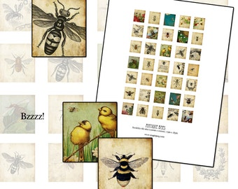 Bees Scrabble sized digital collage sheet .75 x .83 in 19mm x 21mm