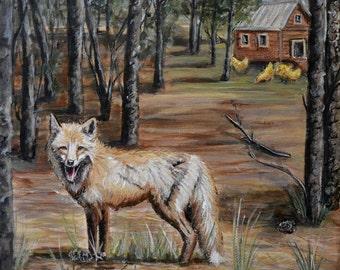 Fox art print , chicken decor wall art prints, rooster art, fox artwork, forest friends, woodland farmhouse decor, giclee, kids room art