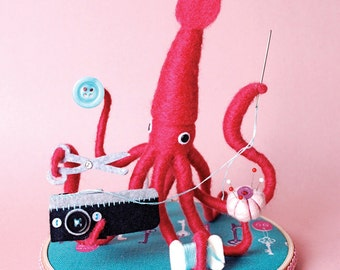Print: Mr. Pink Squid, A Very Handy Crafter, Single - Digital Plush Art Photograph Craft sewing thread Needlefelting toy wall decor