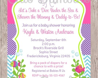 PRINTABLE Under the Sea Invitation Baby Shower Invitation / Pink, Purple and Blue / Baby Girl Invitation / You Print - 0022