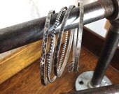 Rustic Sterling Bangle Bracelet Set of 4