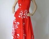 SALE Hawaiian Sunset - Vintage 1960s 70s TRopical Swim Dress Med M