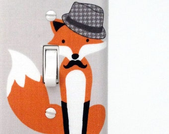 Fabric Light Switch Plate Cover, wall decor - gray with fancy fox