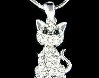 Swarovski Crystal Movable Dangle KITTY CAT KITTEN Pet Animal Charm Pendant Chain Necklace Jewelry Christmas Best Friend Girls Gift Cute New
