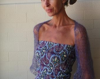 violet shrug / Hand knit violet summer shrug