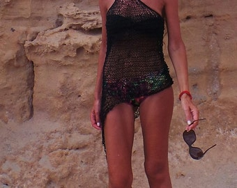 Black dress / Black beach dress / Asymmetrical sheer knit dress / Black dress