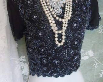 Black beaded blouse vintage crop top flapper  evening party small  from vintage opulence on Etsy