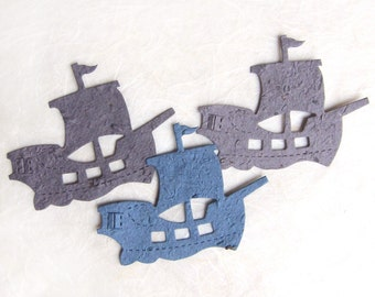 15 Seed Paper Boats - Pirate Birthday Party Favors - Plantable Flower Seed Paper Sailboats Nautical Wedding Favors