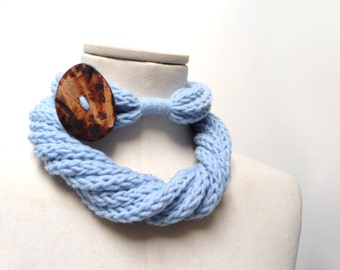 Knit Infinity Scarf Necklace, Loop Scarlette Neckwarmer - Light blue wool with big wood button - Handmade