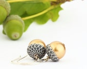 Gold Acorn Earrings, Silver and Rich Gold Pearls, Dangle Earrings, Woodland Jewelry, Rustic, Autumn, Acorn Jewelry, Gift For Mom