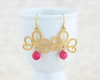 Gold Earrings, Pink and Gold Dangle Earrings, Gold Scroll Dangle Earrings With Pink Stone Beads, Dangle Earrings, Gift For Woman